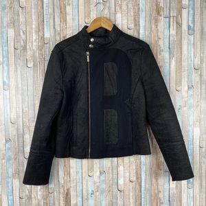 Bikkembergs S Black Wool Moto Zip Up Jacket Coat